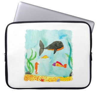 Watercolor Sea view with Whale and Seahorse Laptop Sleeve
