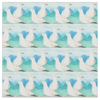 Watercolor Seagulls Beach Ocean Nature Bird Art Fabric