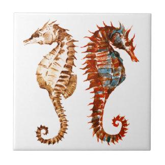 Watercolor Seahorse Pattern Ceramic Tile