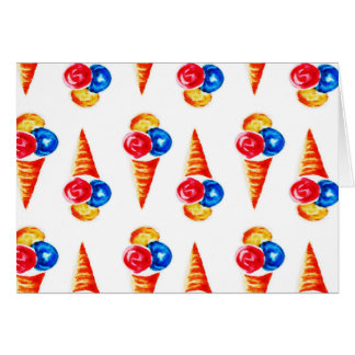 Watercolor seamless pattern with ice-cream cone card
