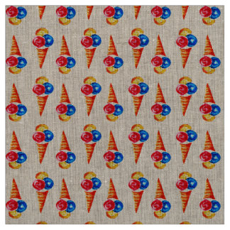 Watercolor seamless pattern with ice-cream cone fabric