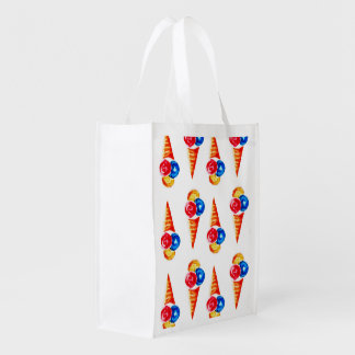 Watercolor seamless pattern with ice-cream cone, reusable grocery bag