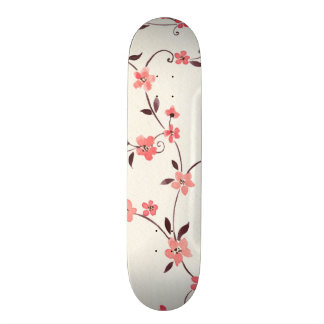 Watercolor seamless pattern with styled spring skate board