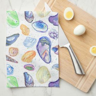 Watercolor Seashells Clam Oyster Towels