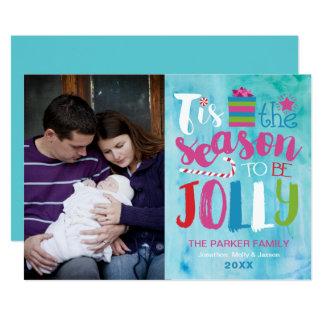 Watercolor Season to be Jolly Christmas Photo Card