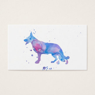 Watercolor Shepherd Blue Modern Dog Illustration Business Card