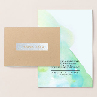 Watercolor | Silver Foil Wedding Thank You Cards