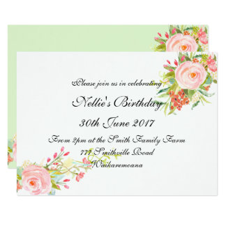 Watercolor Simple Elegant Birthday Invitation