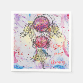 "Watercolor sketch Dreamcatcher ""Chase your Dreams"" Disposable Napkins"