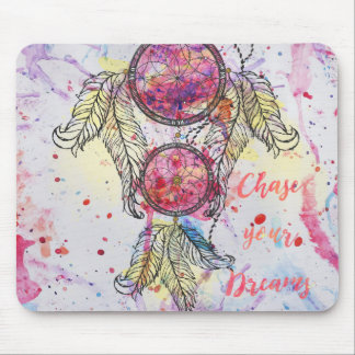 "Watercolor sketch Dreamcatcher ""Chase your Dreams"" Mouse Pad"