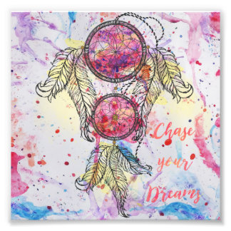 "Watercolor sketch Dreamcatcher ""Chase your Dreams"" Photo"