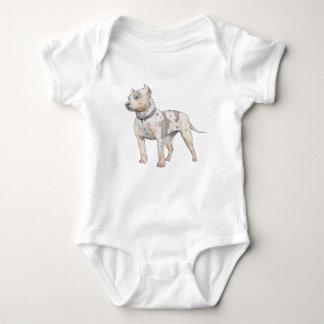 Watercolor Sketch Pit Bull Dog Baby Bodysuit