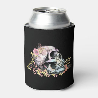 Watercolor skull with autumn flowers can cooler