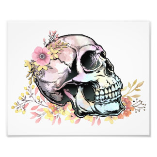 Watercolor skull with autumn flowers photo