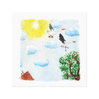 Watercolor Sky View with Swans Canvas Wall Art