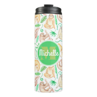 Watercolor Sloth Pattern | Add Your Initial Thermal Tumbler