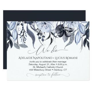 Watercolor Smoky Black Gray Floral Wedding | Card