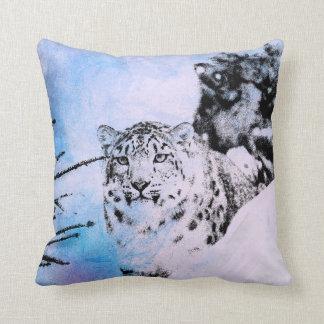 Watercolor Snow Leopard Cushion