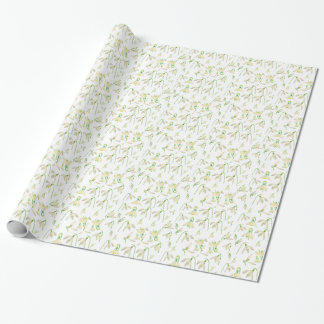 Watercolor Snowdrops Pattern Wrapping Paper