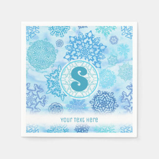 Watercolor Snowflakes with Monogram and Text Disposable Serviette