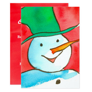 Watercolor Snowman Christmas Party Invitation