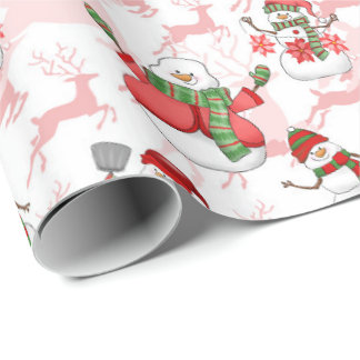 Watercolor snowman Reindeer Christmas wrap Wrapping Paper