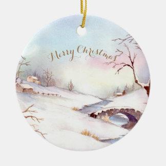 Watercolor Snowy Bridge Landscape Painting Ceramic Ornament