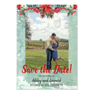 Watercolor snowy red save the date photo card