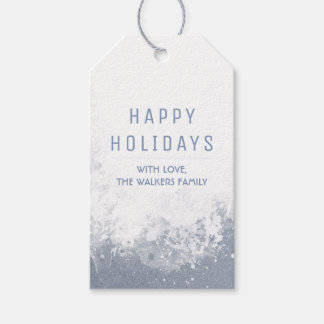 Watercolor Snowy Splashes Happy Holidays Gift Tags