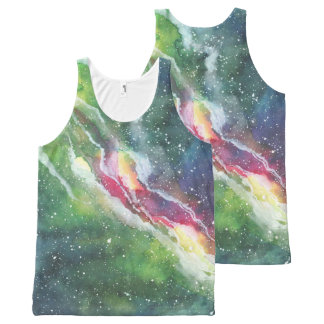 Watercolor Space Nebula Galaxy All-Over Print Singlet