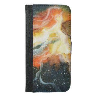 Watercolor Space Nebula Galaxy iPhone 6/6s Plus Wallet Case