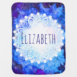 Watercolor Space Nebula White Mandala Baby's Name Receiving Blanket
