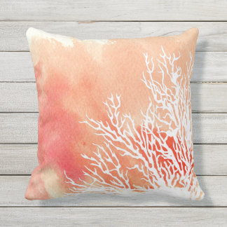 Watercolor splash coral reef modern beach summer outdoor cushion