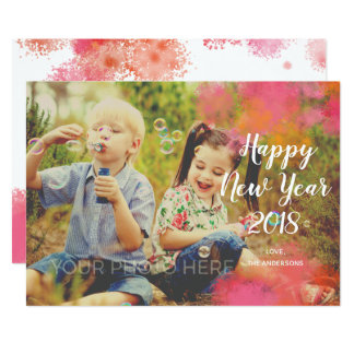 Watercolor Splash New Year Photo Card