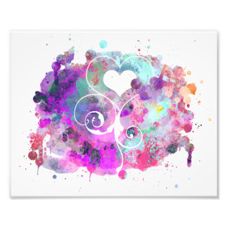 Watercolor Splashes | Painted Heart Cutout Photo Print