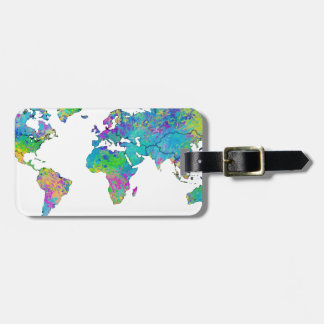 Watercolor Splashes World Map Travel Bag Tags