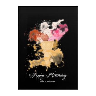 Watercolor Splatter Birthday Ice-cream Acrylic Wall Art