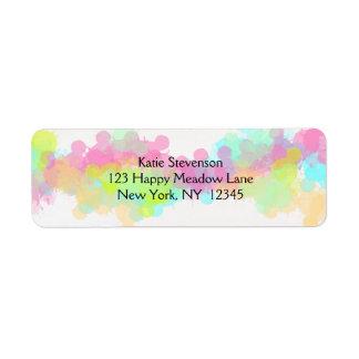 Watercolor Splatter Colorful Abstract Design Return Address Label