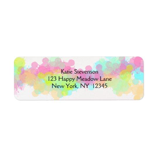 Watercolor Splatter Colourful Abstract Design Return Address Label