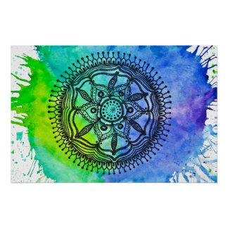 Watercolor Splatter Mandala Poster. Poster