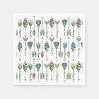 watercolor splatters grey tribal arrows pattern paper napkin