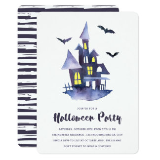 Watercolor Spooky House Halloween Party Invitation