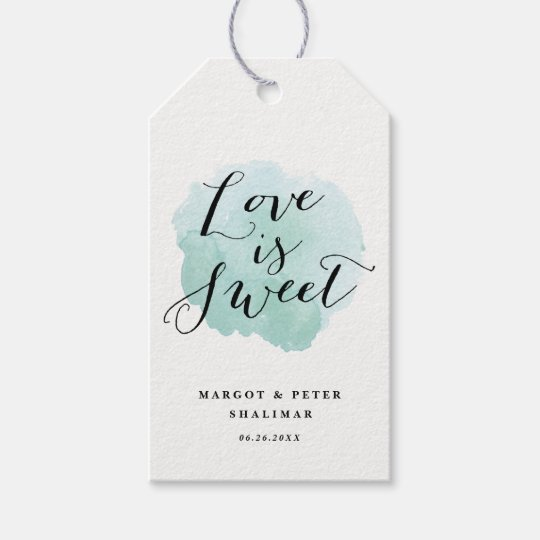 Watercolor spotlight wedding gift tags