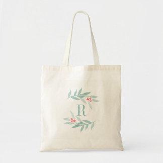 Watercolor Sprig Monogram Tote Bag