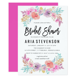 Watercolor Spring Bridal Shower Invitation