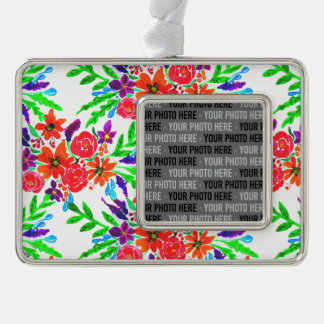 Watercolor Spring Floral Blooms Silver Plated Framed Ornament