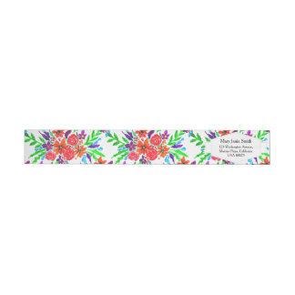 Watercolor Spring Floral Blooms Wraparound Return Address Label