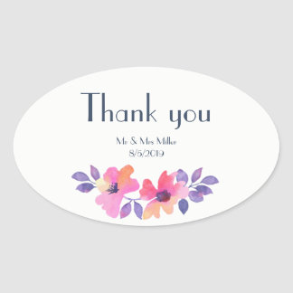 Watercolor Spring Floral Wedding Thank You Oval Sticker