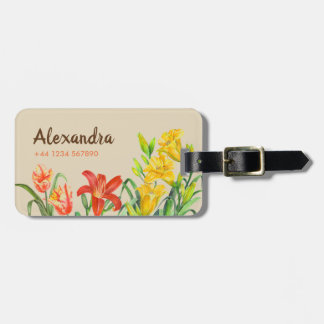 Watercolor Spring Flowers Botanical Illustration Luggage Tag