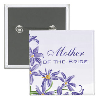 Watercolor Spring Flowers Mother of the Bride 15 Cm Square Badge